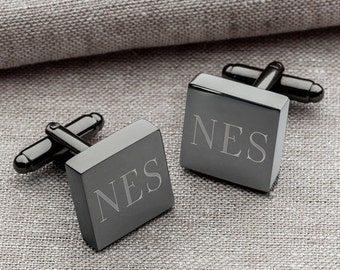 Engraved Groomsmen Gifts, Personalized Square Gun Metal Gunmetal Cufflinks Monogram Custom Cuff Links Groomsman Executive Dad Father's Day