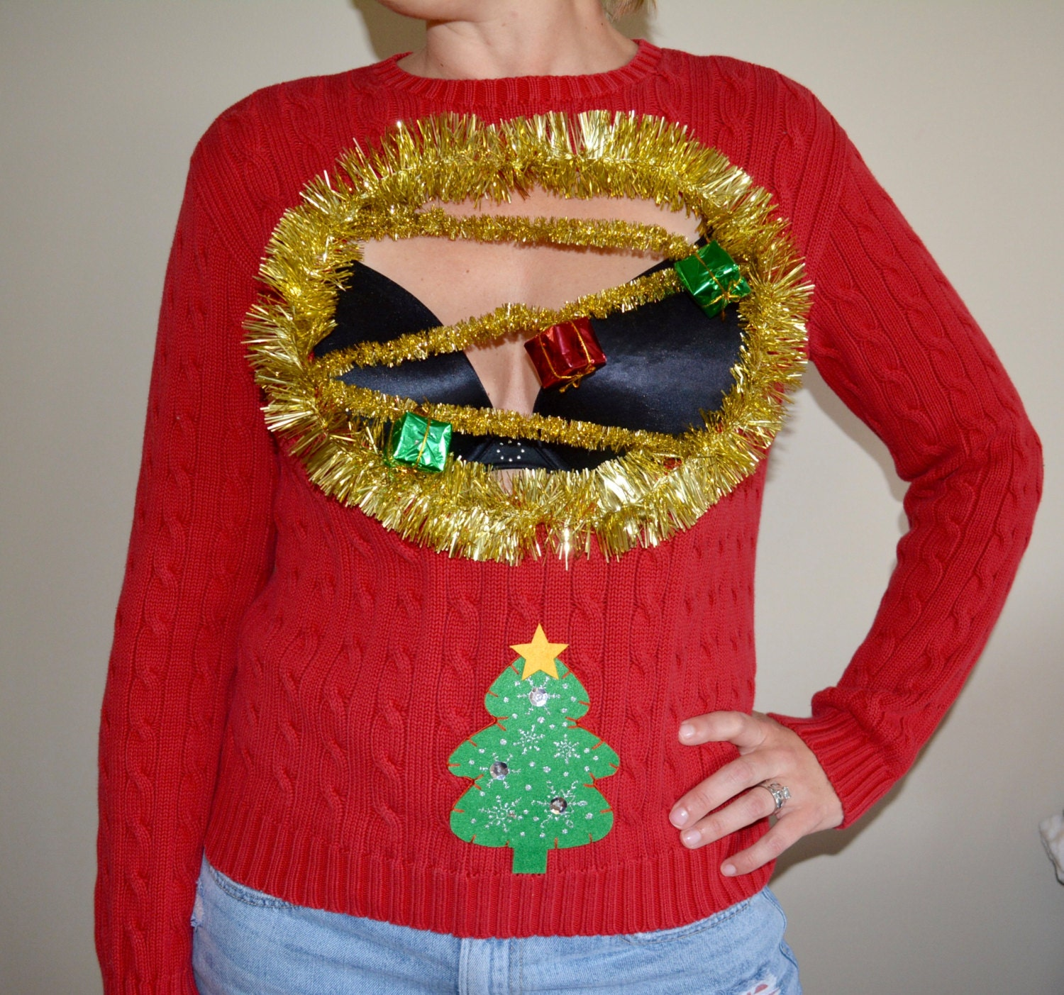Sexy Ugly Christmas Sweater Womans Medium Boob Cut-4504