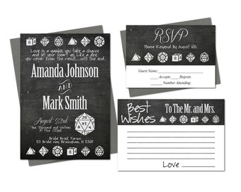 Dice Geek Nerd Wedding Invitation Set Rsvp Best Wishes Card Printable Gamer Gaming Game Sci-fi Download File Rustic Black and White D20 D6