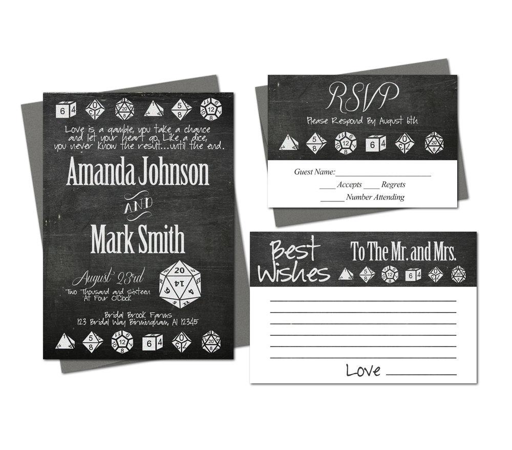 Nerdy Wedding Invites: Dice Geek Nerd Wedding Invitation Set Rsvp Best Wishes Card