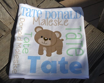 Personalized Baby Boy Blanket - Bear Receiving Blanket - Custom Bear Baby Name Blanket - Newborn Swaddling Blanket - Bear Baby Photo Prop