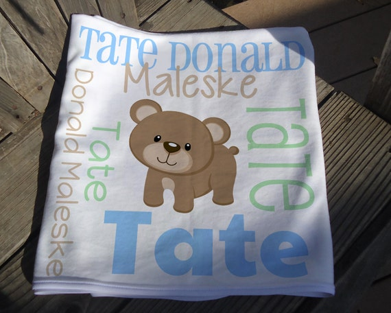 Personalized Baby Boy Blanket Bear Receiving Blanket