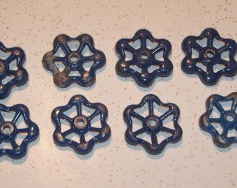 Water faucet spigot valve HANDLES lot of 8 vintage all the same- Blue cast aluminum knobs, Steampunk