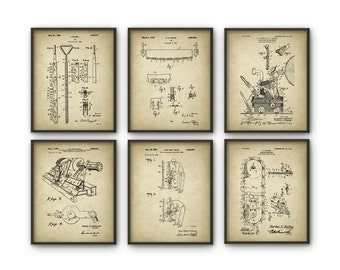 Forestry Patent Prints Set Of 6 - Forestry Poster - Woodworking - Timber - Forest Work - Logging Industry - Lumber - Forestry Equipment Art