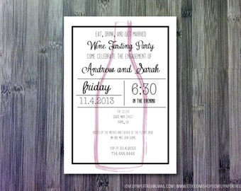 Wine Bottle Silhouette Engagement Party Invitation | EP10