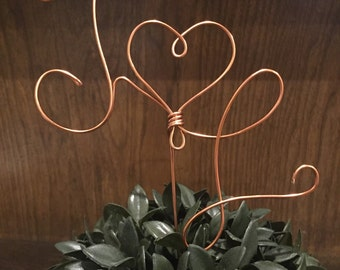 Custom Wedding Cake Topper Wire Rustic Country Initials Heart Love Copper Birthday