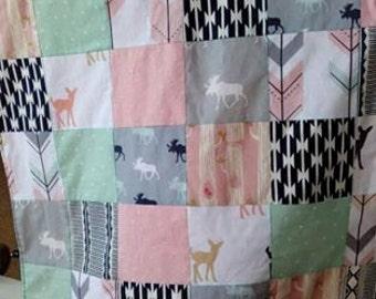 Girls Patchwork Blanket/Pink Arrow Blanket/Woodland Blanket/Arrow Blanket/Deer Blanket