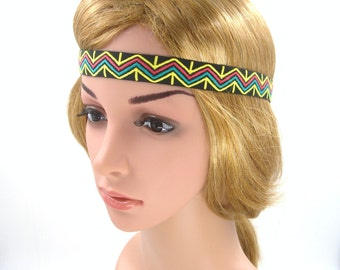 Yellow Boho Headband,Bohemian Headband,Yellow Tribal Headband,Yoga Halo Forehead Headband,Women Hairband,Elastic,Adult,Men,Party,Prom,Yellow