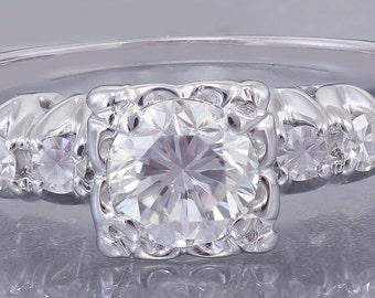 GIA H-SI114k White Gold Round Cut Diamond Engagement Ring Art Deco Antique Style 0.82ctw