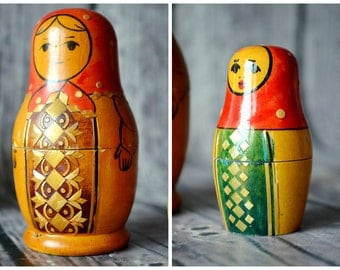 Vintage Wood Matryoshka, Nested Doll, Set Of 2 Doll, Storage Box, Desk