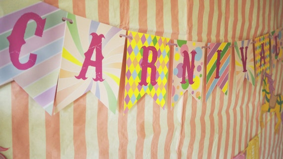 CARNIVAL - Fair Ground - Personalized - Children's - Birthday Party - Baby Shower - Pastel - Bunting - Banner - Garland - PRINTABLE - Pdf