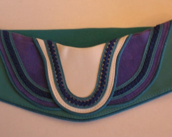 Vintage 90's Belt Leather Elastic Salena's Collection New Attitude in Belts Hot Fashion Turquoise Purple
