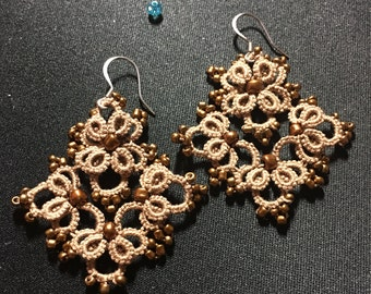 "Tatted Earrings ""Maya"" - tatting pattern"