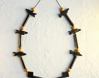 Black and Orange Fish Bead Necklace