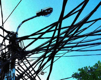 Vietnam Telephone Wires Painting 1 - Giclee Print
