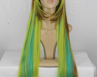 """25"""" Long Straight Wig Multi Color Highlights Lolita Cosplay Hairpiece For Women"""