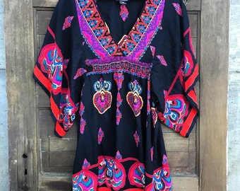 Epic Vintage 90's Bohemian Batwing Dress by Angie Size Small