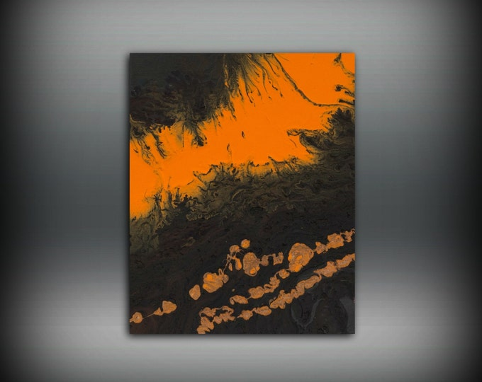 Art Painting Acrylic Painting Abstract Art Small Wall Art Brown and Orange Home Decor Small Canvas Art, Small Wall Hanging 8 x 10