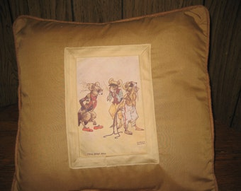 "Nursery Rhyme Pillow 16""  16"".    The Three Blind Mice!   Adorable and Unusual. Fairy Tale Pillow."