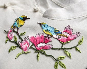 Two birds with flower embroidered applique patch vintage patch Clothing decoration patch applique