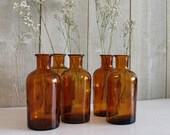 Amber glass bottle. Apothecary bottle. Amber bottles. Medicine glass jar. Vintage bottle. Brown glass bottles // D211