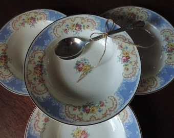 Vintage Homer Laughlin China Four Soup Salad Bowls White Royal Blue and Gold Pattern Pink Yellow Roses Trim 14 k Gold Rim