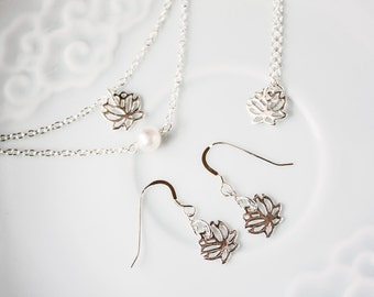Sterling Silver Lotus Jewelry Set, Silver Lotus Charm Earrings, Necklace, and Bracelets
