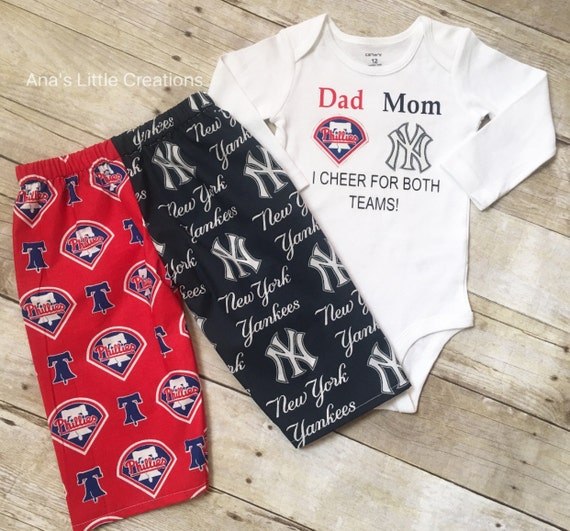 Custom House Divided Bodysuit (Phillies - Yankees) I Cheer For Both Teams and Pants or Shorts 2pc Set, House Divided Set