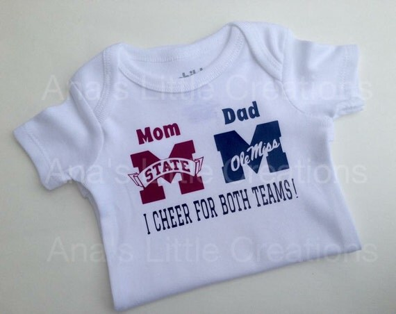 Custom House Divided Bodysuit (Mississippi State-Ole Miss) I Cheer For Both Teams