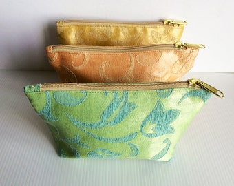 Set of 3 Floral Chinese Zipper Pouches, Cosmetic Bag, Pouch Tutoial, Small Makeup Bag, Zip Bag, Zipper Pencil, lady accessories, gift
