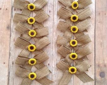 Sunflower Small Bows / Burlap small Bows / Set of 12 / Sunflower Burlap Decorative Bows / Small Sunflower Bows / Sunflower decor /Handmade