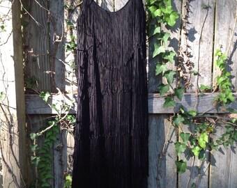 vintage black fringe flapper dress/hw collections fringe dress/360 fringe holiday dress/new years eve dress s/m