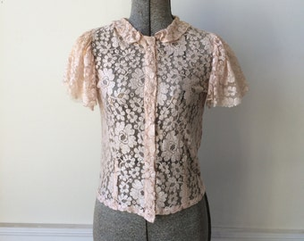 1920s 1930s Delicate Net Lace Blouse Flutter Petal Pink Gathered Cap Sleeves Size Small