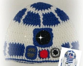 Crochet Finished Star Wars R2 - D2 Hat
