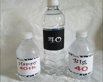 Printable 40th birthday Water bottle labels (DIY)