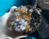 Gears- Tourmaline Zeolite and Citrine antique crystal pendant