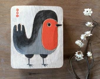 ROBIN BIRD in oak wood