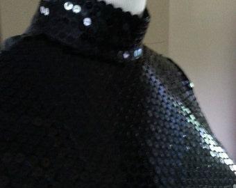 Vintage Black Sequin Zip Turtleneck Blouse Short Sleeves M Jeanette Kastenberg