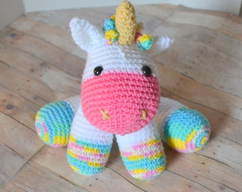 Rainbow Unicorn Plush, Stuffed Animal, Amigurumi, Crochet Animal, Plush Toy, Made to Order