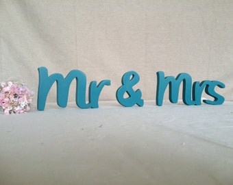 Wedding head table signs Mr and Mrs. Wedding reception mrs and mr wooden letters.