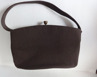 Garay Brown Flannel Purse 8.5 inches wide by 6 inches tall