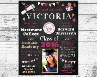 High School Graduation Poster, Keepsake, Party Decor, Gift, College, Elementary, Printable, Digital File