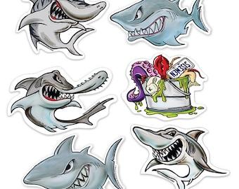 Super Shark Stickers- 6 - Pack
