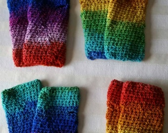 Ready to ship! Rainbow, red, orange, yellow, green, purple fingerless gloves,  texting gloves,  wristers