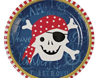Ahoy There Pirate Paper Plates   (Pack of 12) Dessert Plate