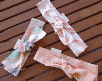 Top Knot Headbands: Pastel, gold and arrows - Set of 3