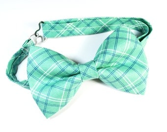 Mint Plaid Bow Tie For Boy/Baby/Teen/Adult/With Adjustable strap/Clipon