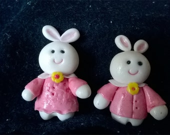 HAPPY rabbit brooches set of 2 brooches gift for her