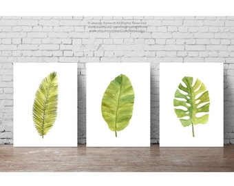 Fern painting green abstract leaf watercolor print set of 4 for Set de table feuille de palmier