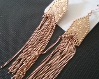 Gold Plated Chain Earrings, Chained Dangle Earrings, Long Earrings with Chain, Native Style Earrings